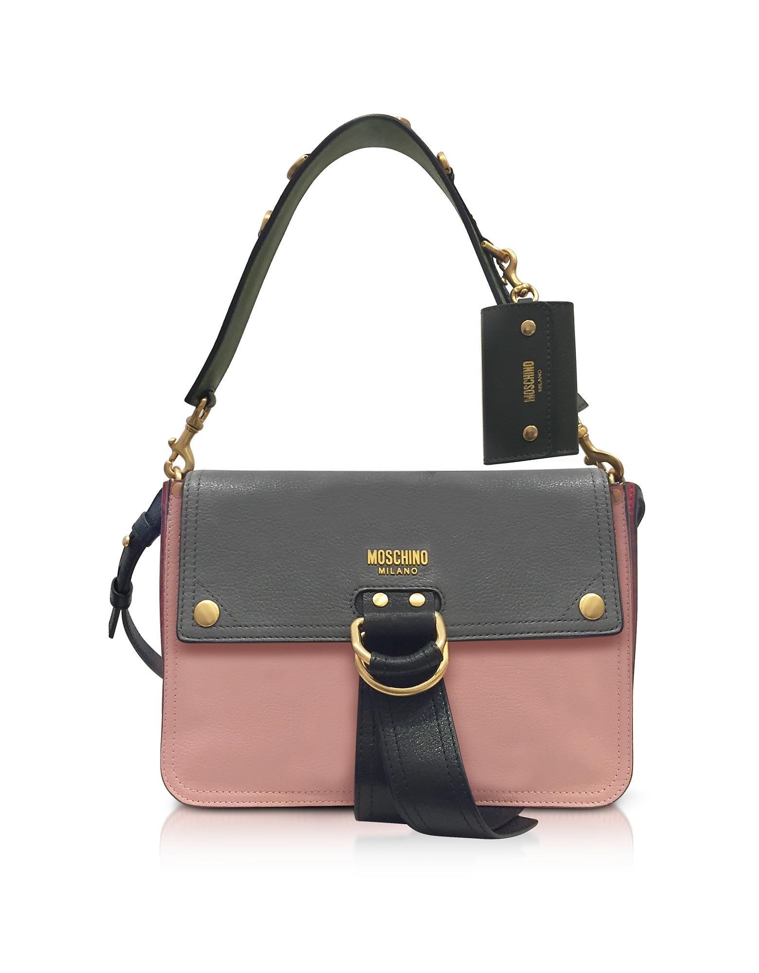 Moschino Handbags, Color Block Leather Flap Shoulder Bag