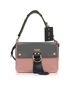 Color Block Leather Flap Shoulder Bag - Moschino