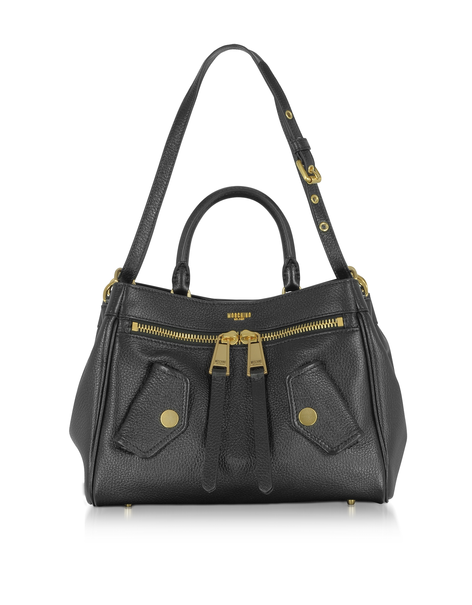 Moschino Handbags, Black Leather Satchel Bag