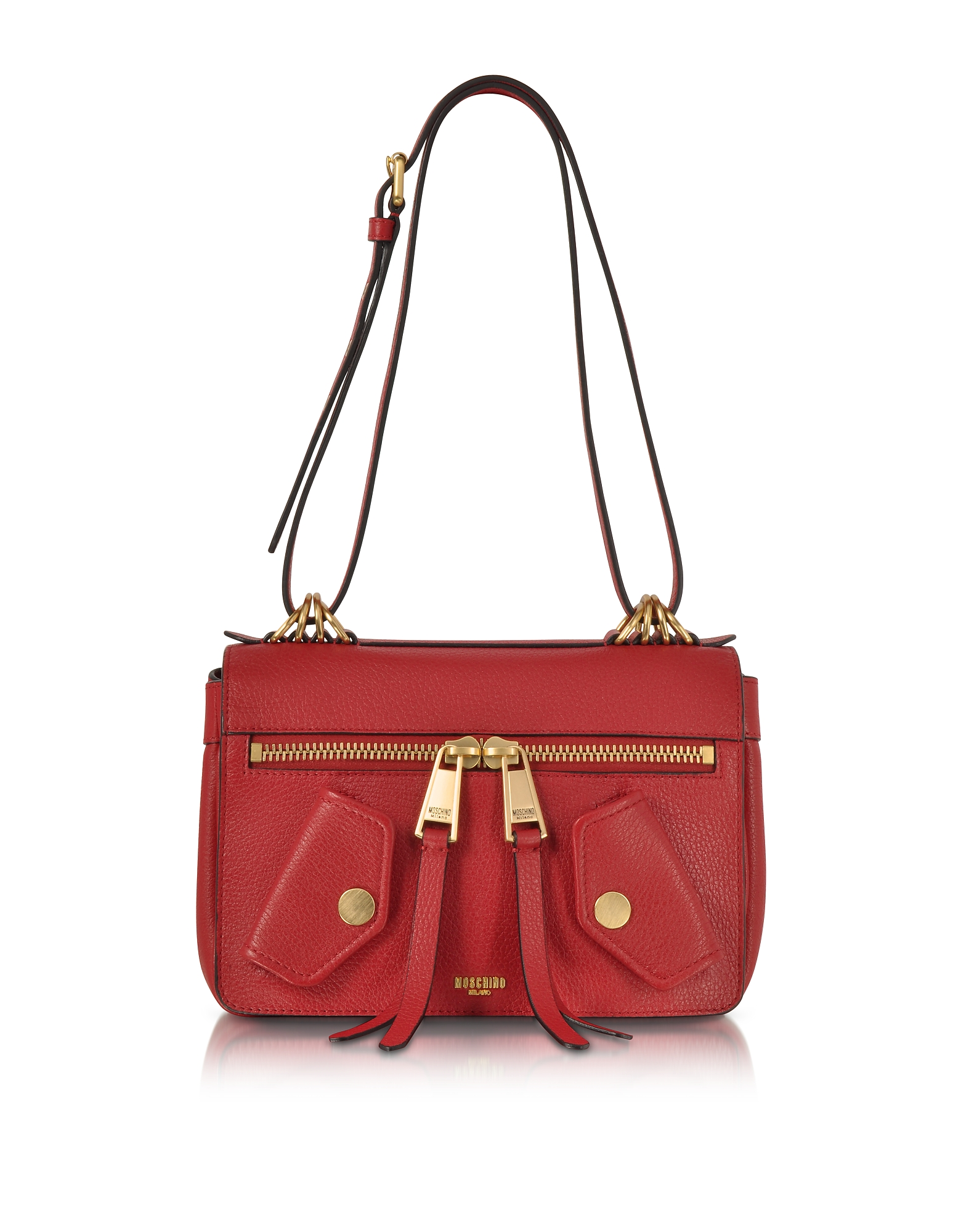 Moschino Red Leather Shoulder Bag