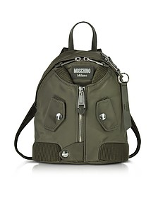 Khaki Nylon Bomber Jacket Backpack  - Moschino