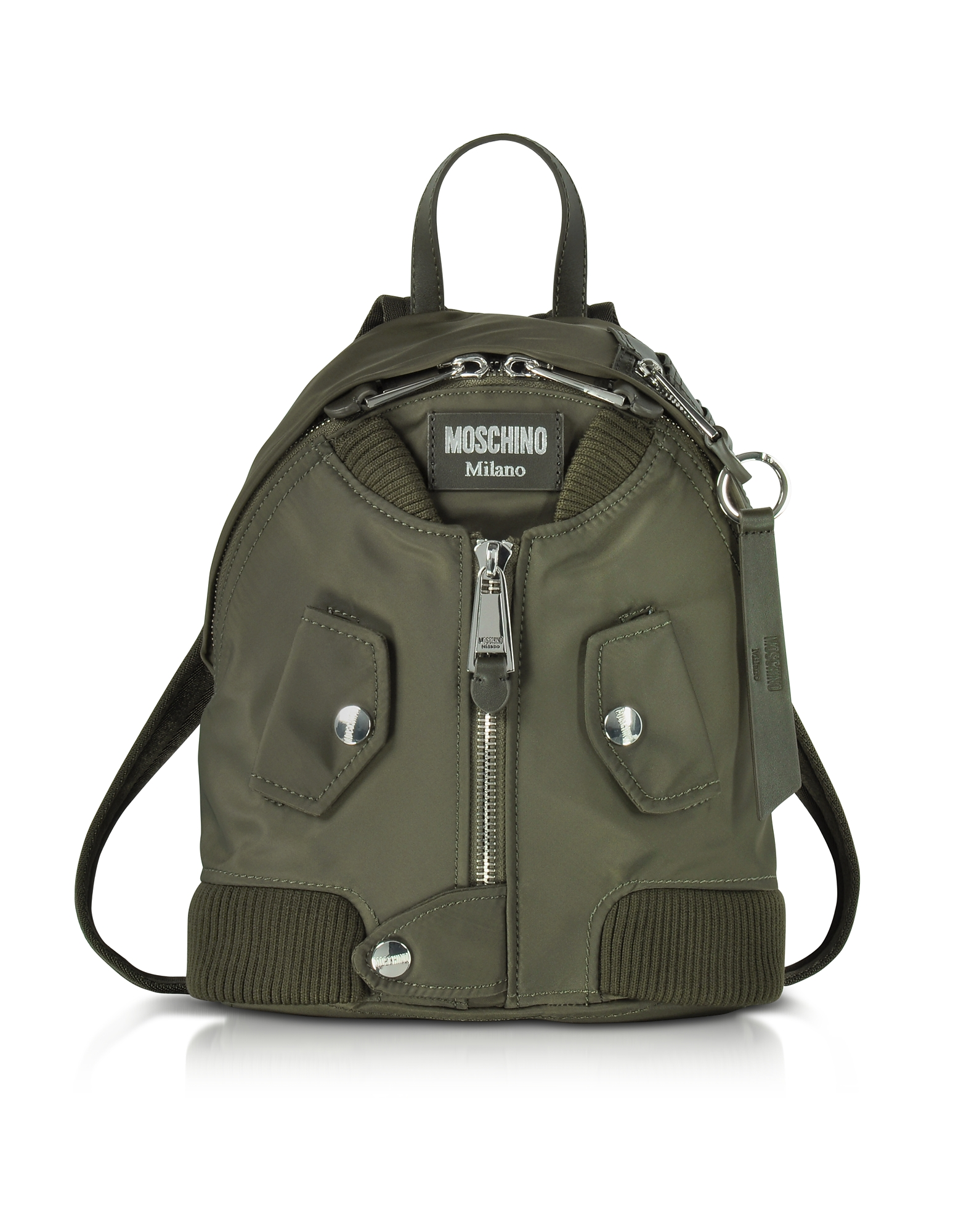 Moschino Handbags, Khaki Nylon Bomber Jacket Backpack