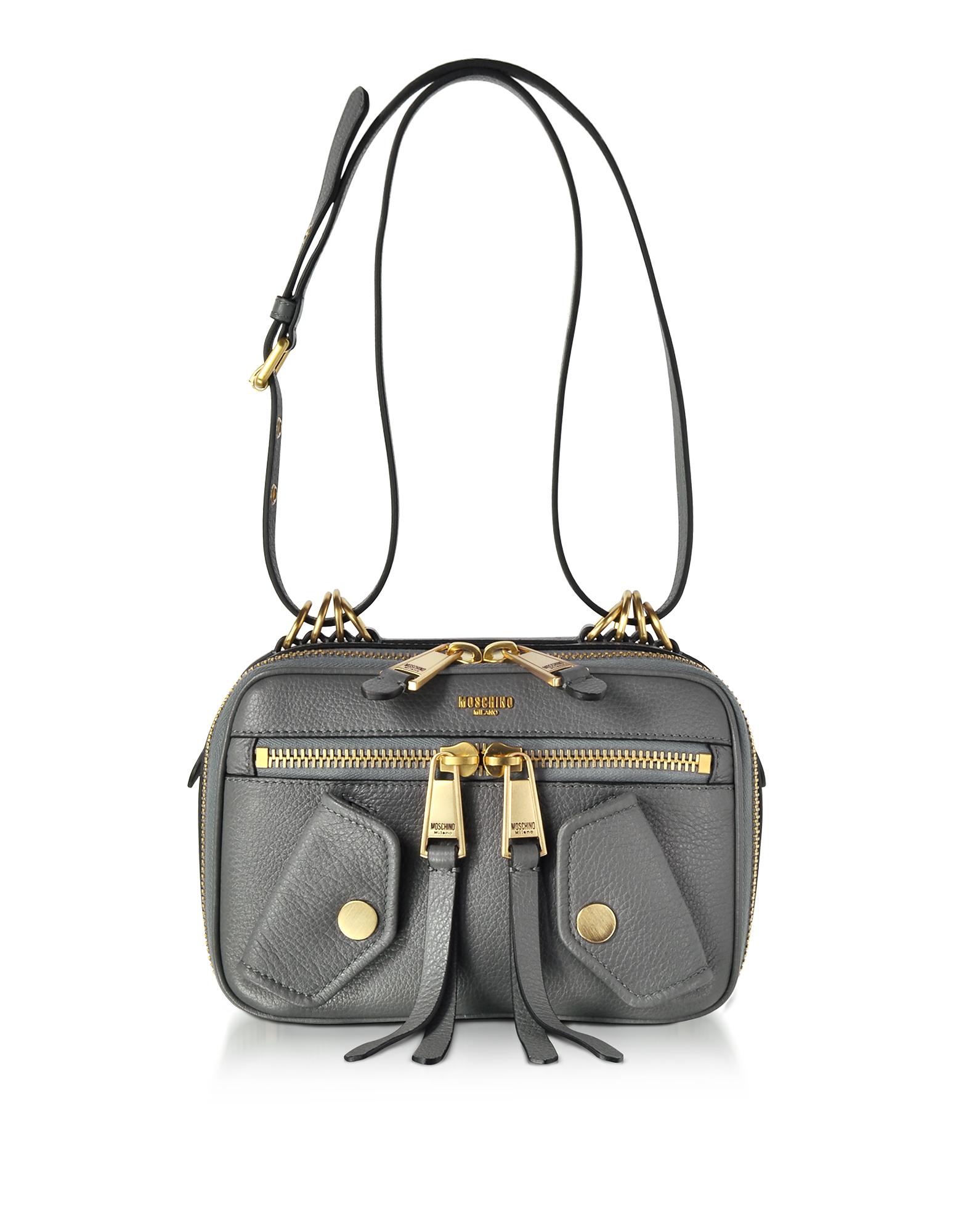 Moschino Handbags, Dark Gray Leather Shoulder Bag