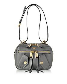 Dark Gray Leather Shoulder Bag - Moschino
