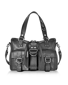 Black Leather Satchel Bag w/Shoulder Strap  - Moschino
