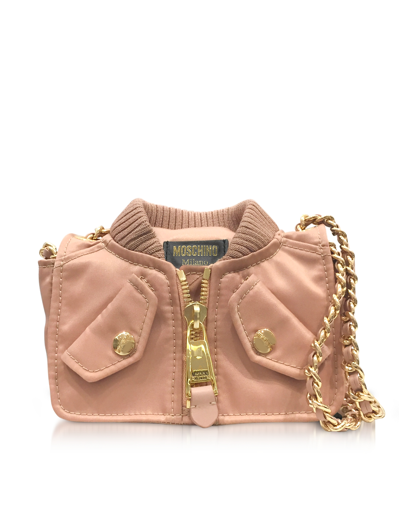Moschino Handbags, Pink Nylon Bomber Jacket Shoulder Bag