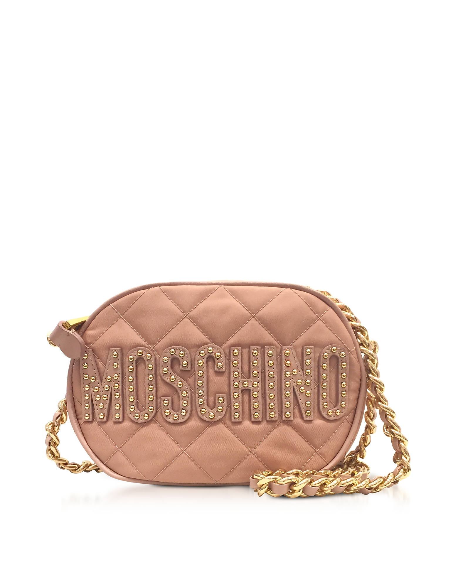 Moschino Pink Nylon Quilted Oval Crossbody Bag w/Studs Logo