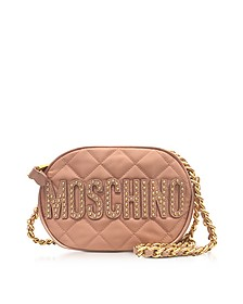 Pink Nylon Quilted Oval Crossbody Bag w/Studs Logo - Moschino