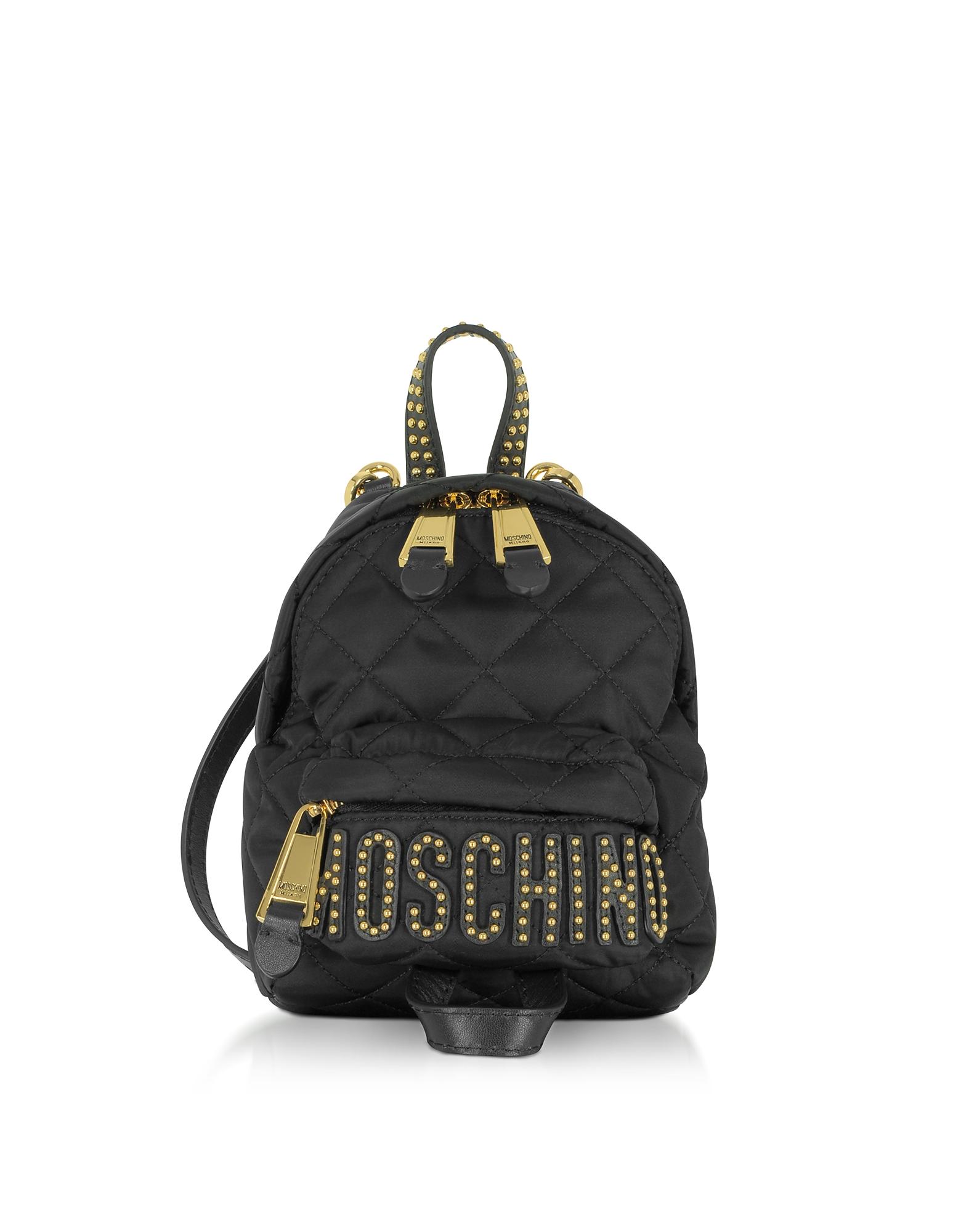 Moschino Handbags, Black Quilted Nylon Mini Backpack w/Studs