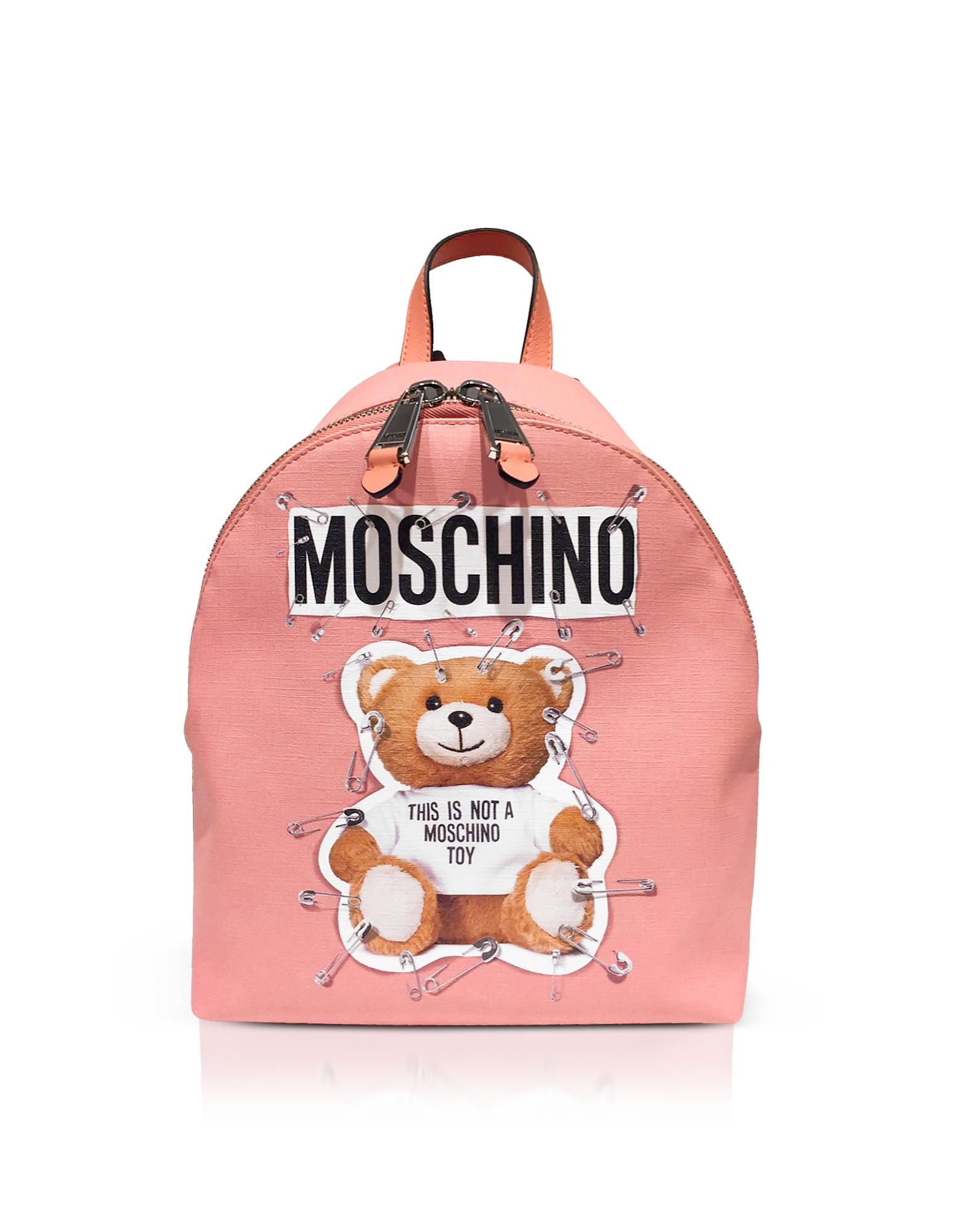 Moschino Handbags, Teddy Bear Pink Backpack