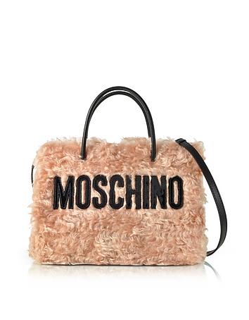 Moschino Pink Fleece Signature Tote Bag