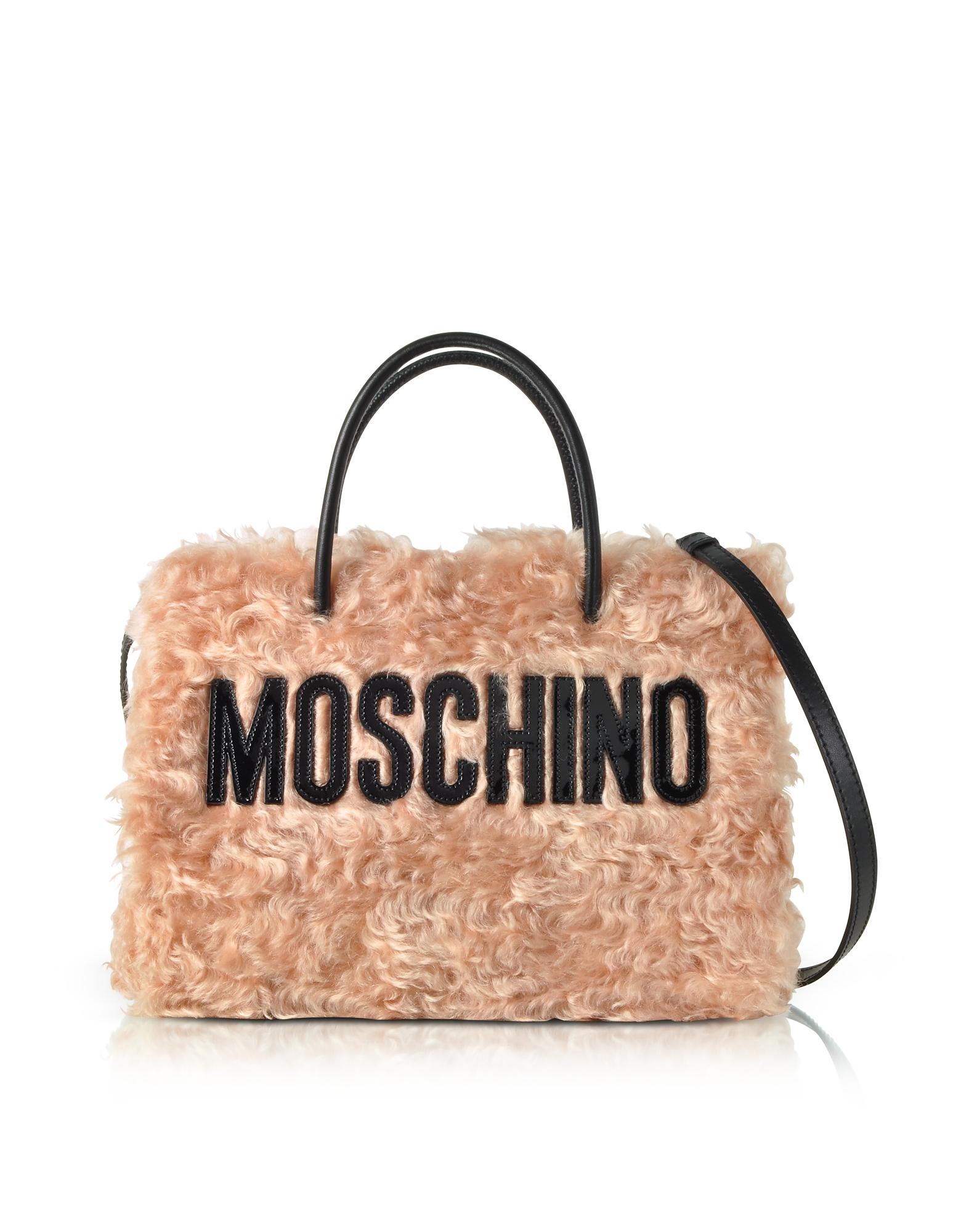 Moschino Handbags, Pink Fleece Signature Tote Bag