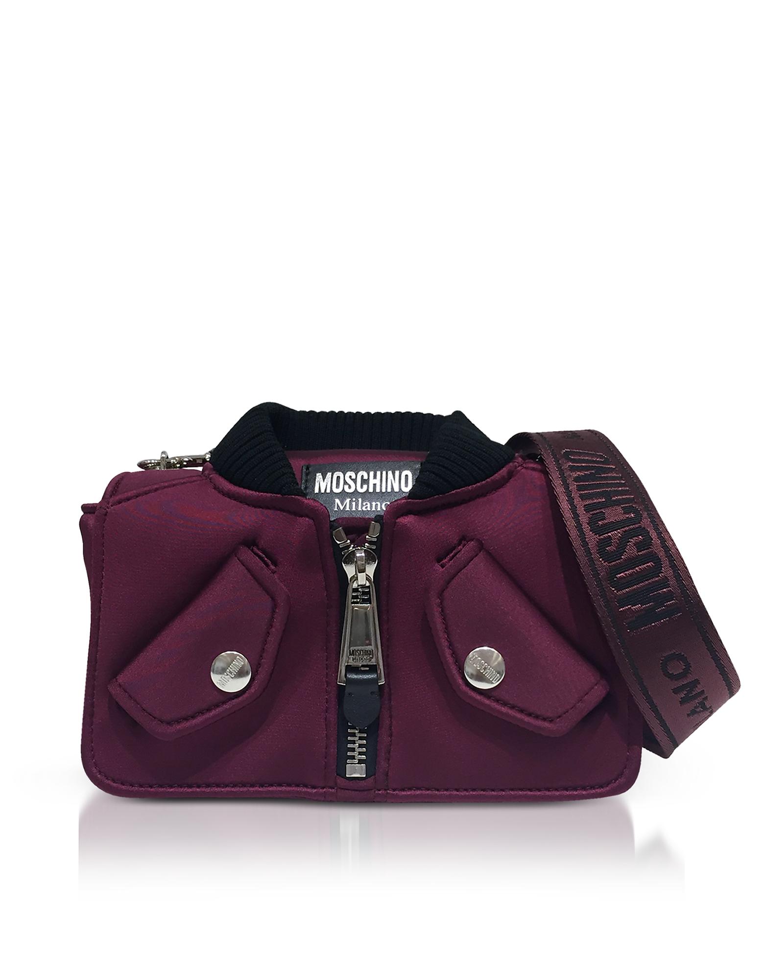 Burgundy Nylon Bomber Jacket Shoulder bag
