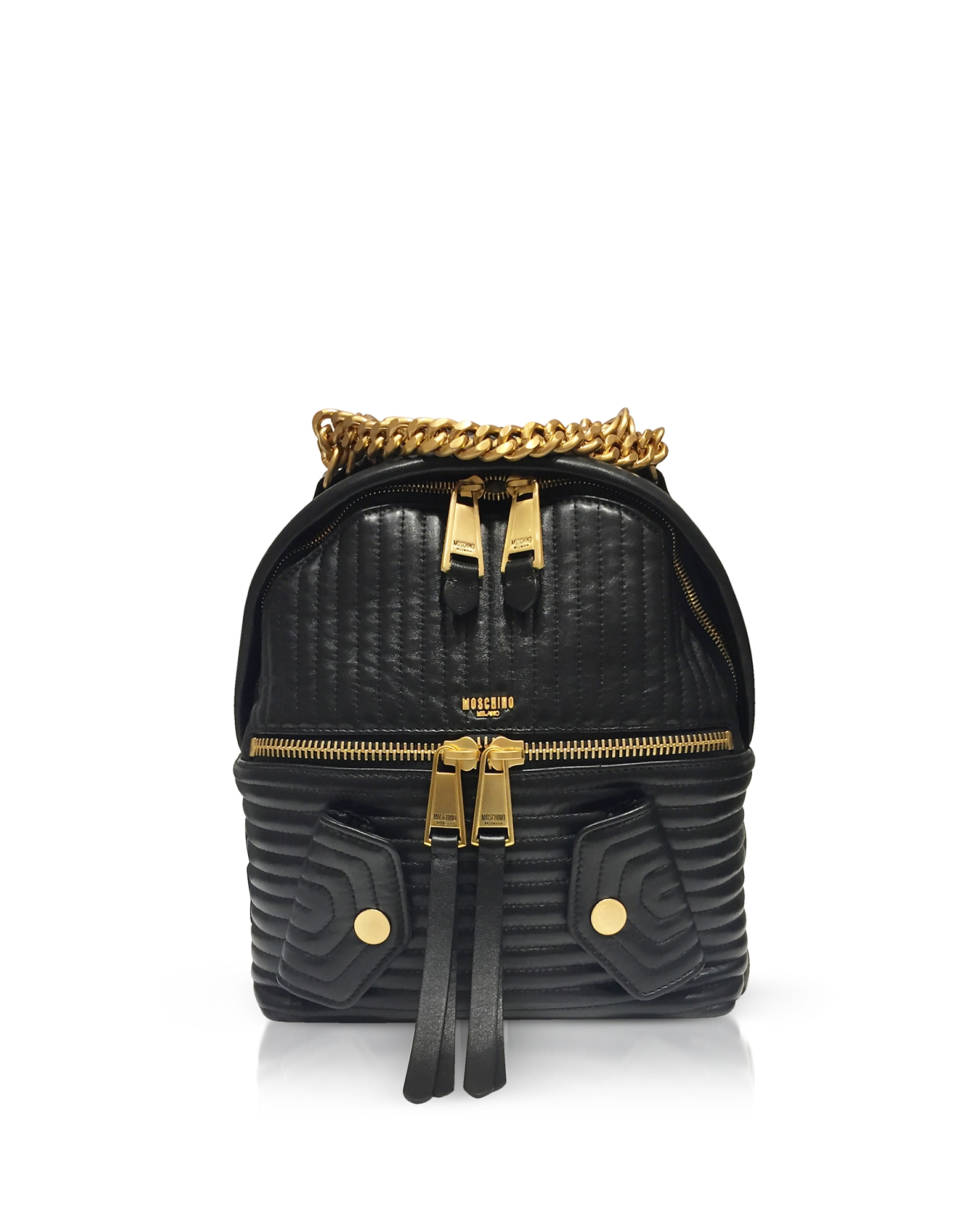 Moschino Handbags, Black Quilted Leather Backpack