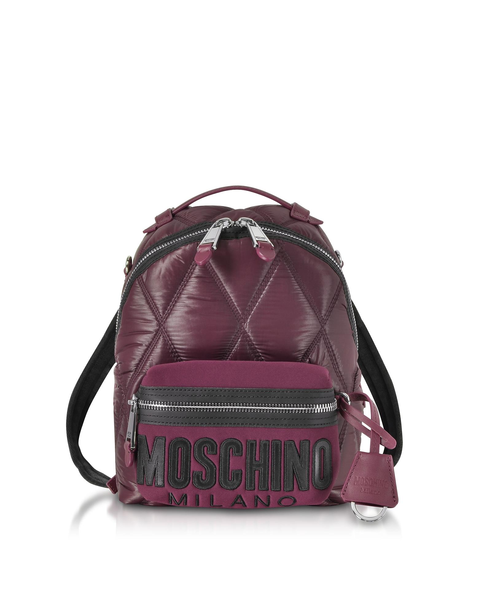 Moschino Handbags, Quilted Nylon Signature Backpack