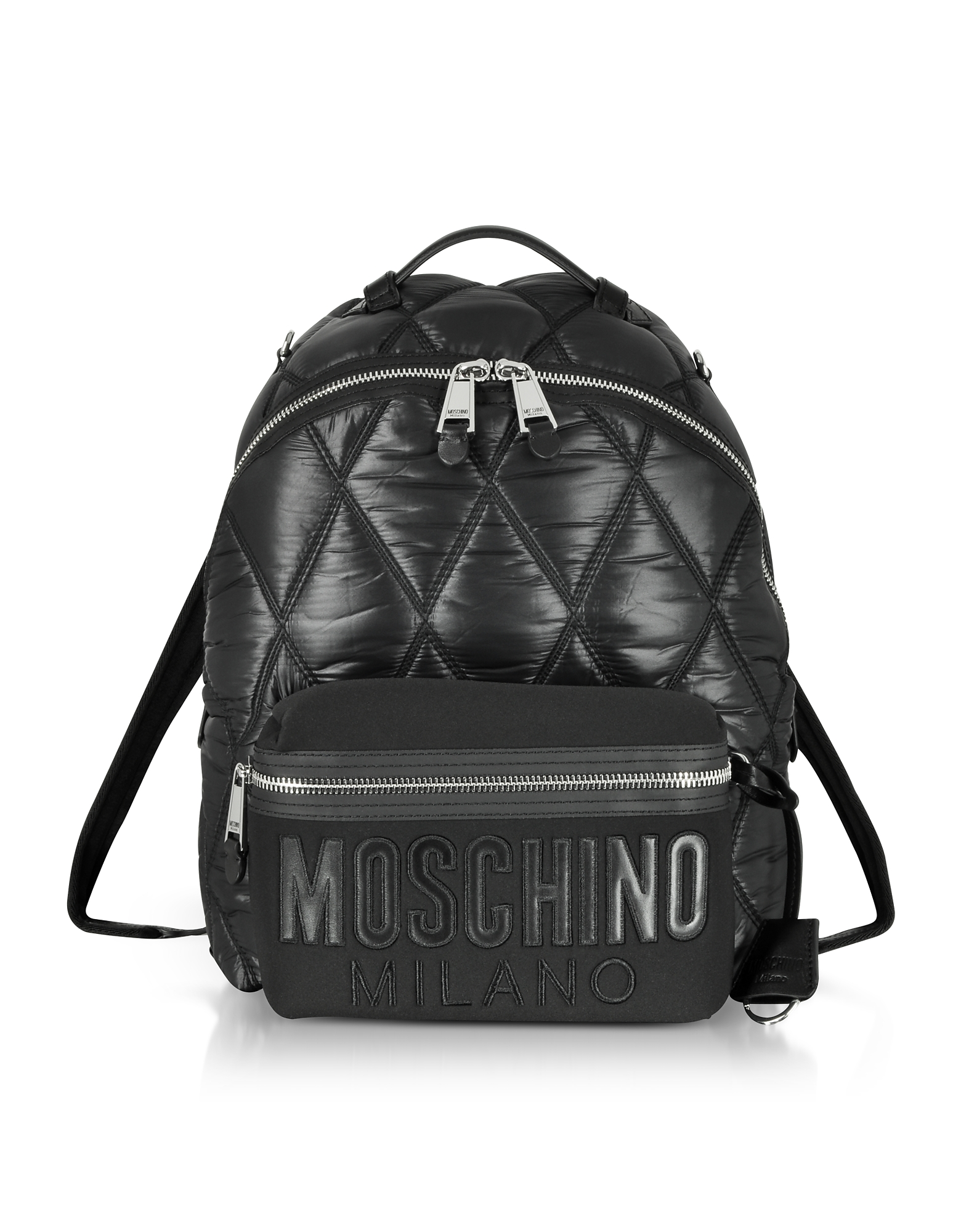 BLACK QUILTED NYLON AND CANVAS BACKPACK