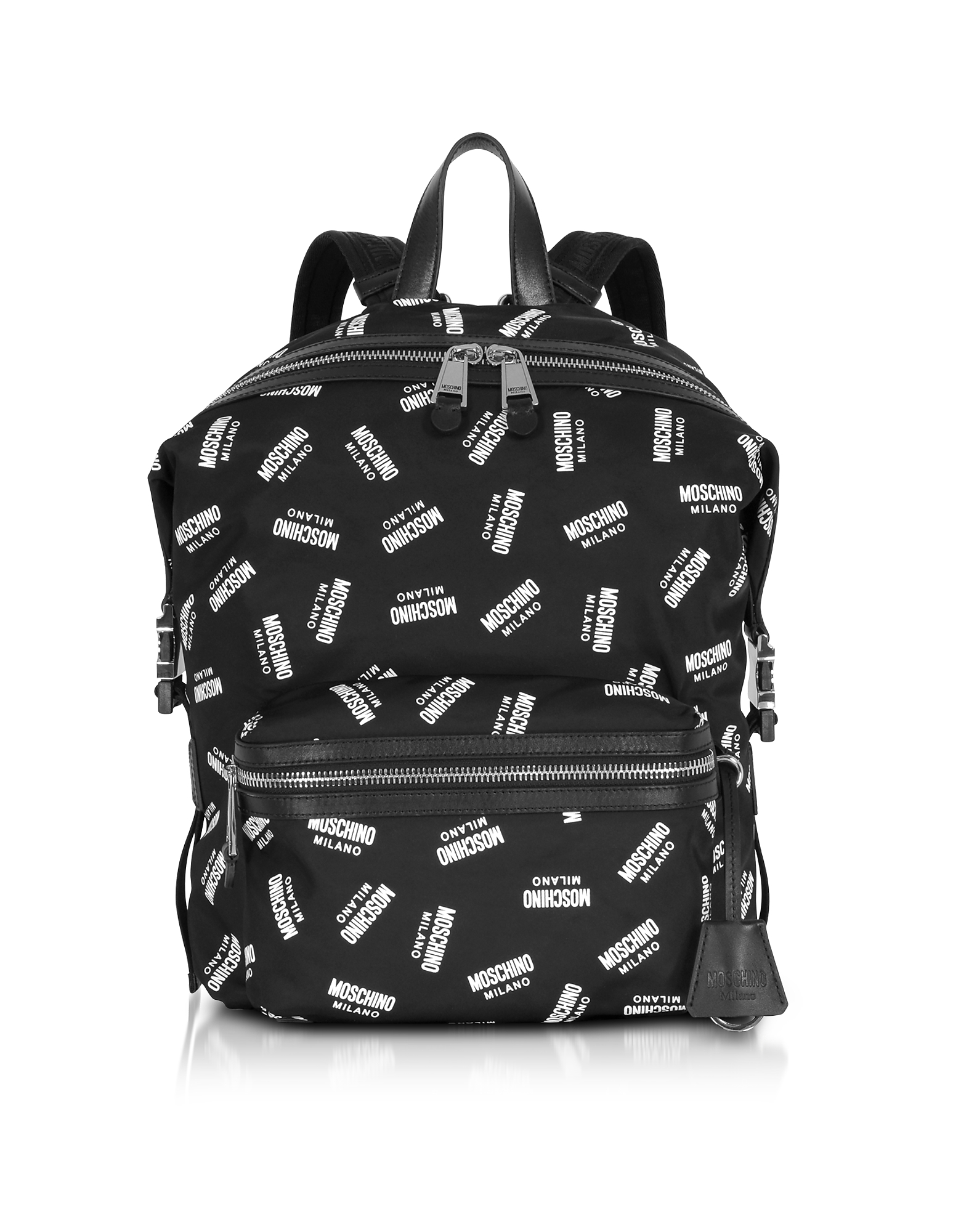 Moschino Handbags, Allover Signature Printed Black Backpack