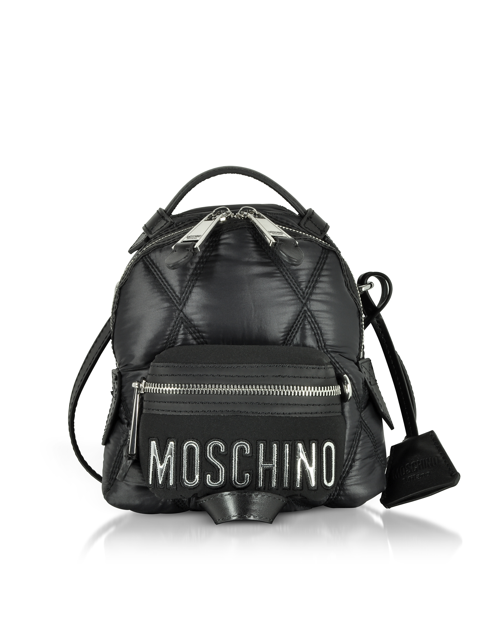 Black Quilted Nylon Mini Backpack