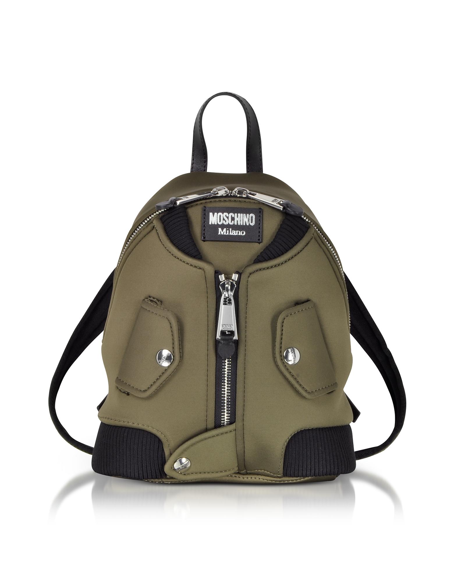 Moschino Handbags, Military Green Nylon Bomber Jacket Backpack