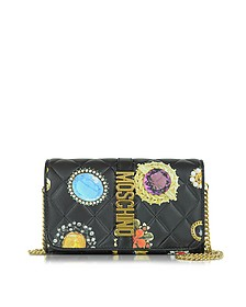 Black Printed Nappa Wallet w/Chain - Moschino