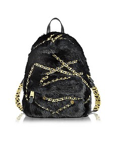 Black Faux Fur Backpack - Moschino