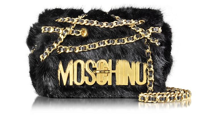 Black Faux Fur Shoulder Bag - Moschino