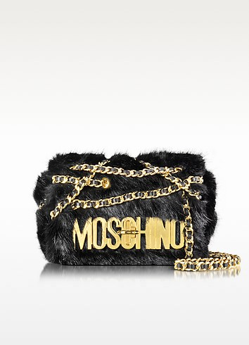 Black Faux Fur Shoulder Bag - Moschino
