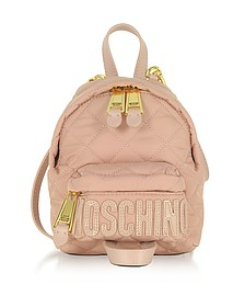 Powder Pink Quilted Nylon Mini Backpack w/Logo - Moschino