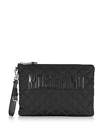 Black Quilted Nylon Clutch w/Detachable Wristlet - Moschino