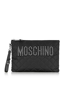 Black Quilted Nylon Clutch w/Detachable Wristlet and Studs - Moschino