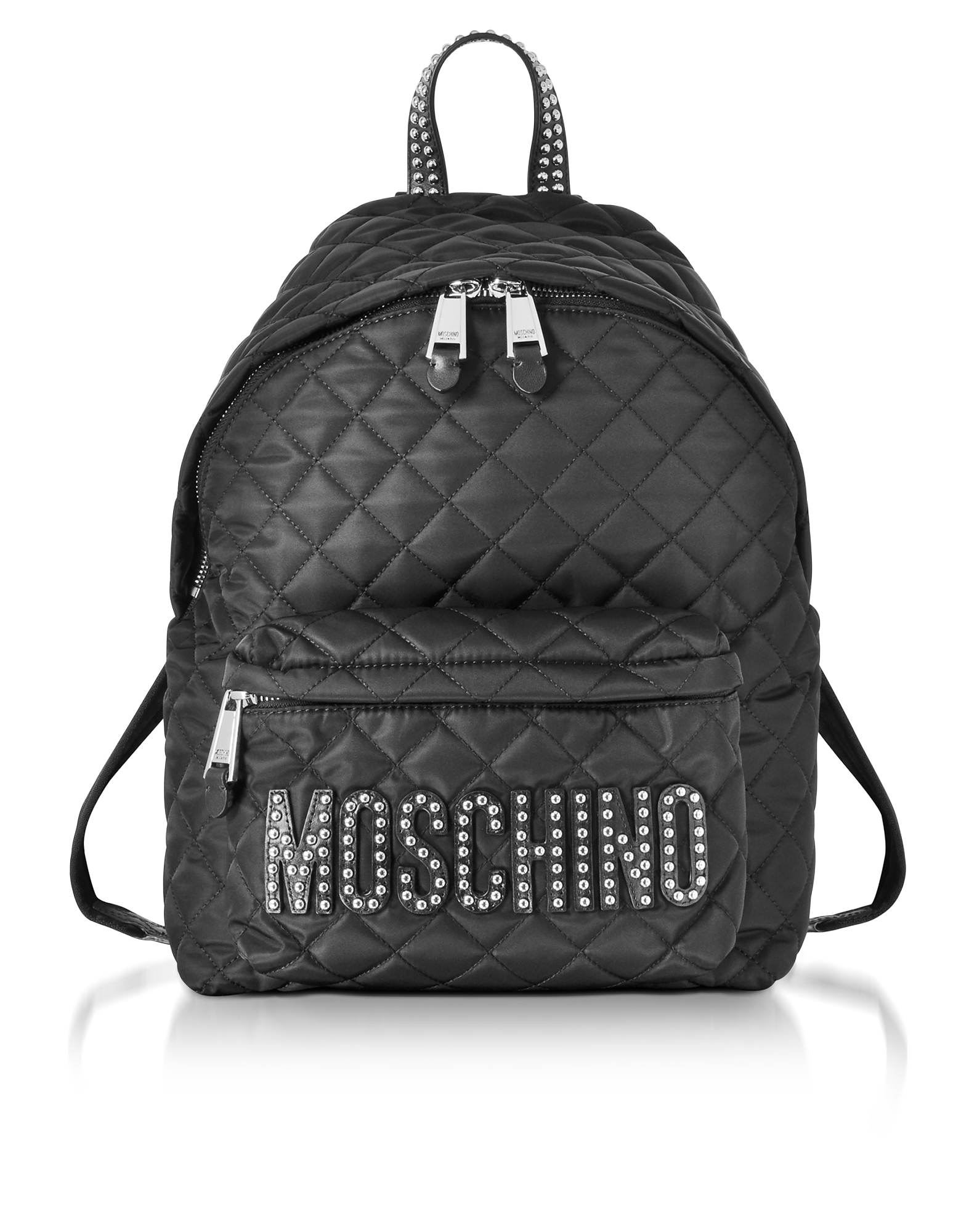 Moschino Handbags, Black Quilted Nylon Backpack w/Studs