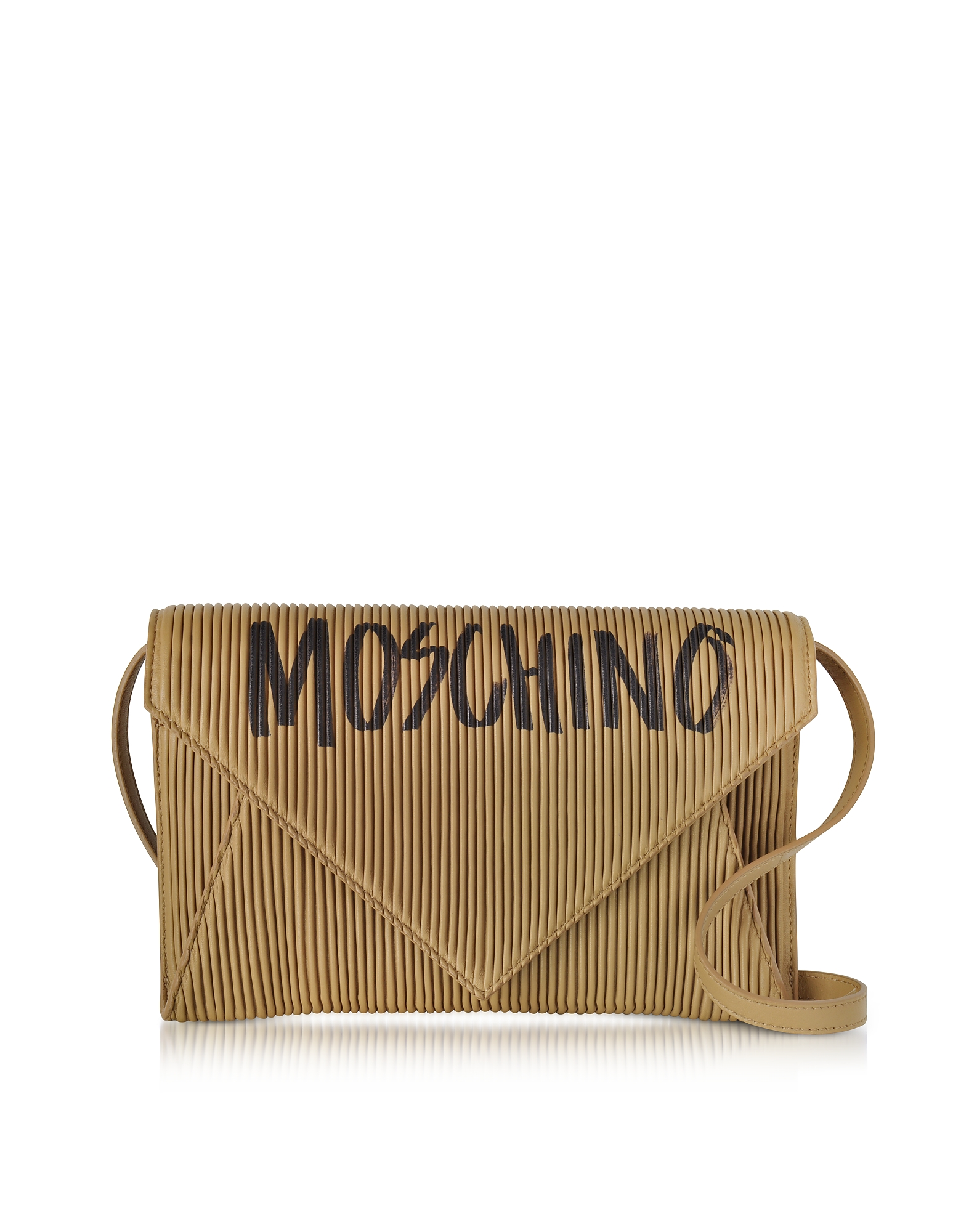 Moschino Brown Pleated Leather Envelope Shoulder Bag