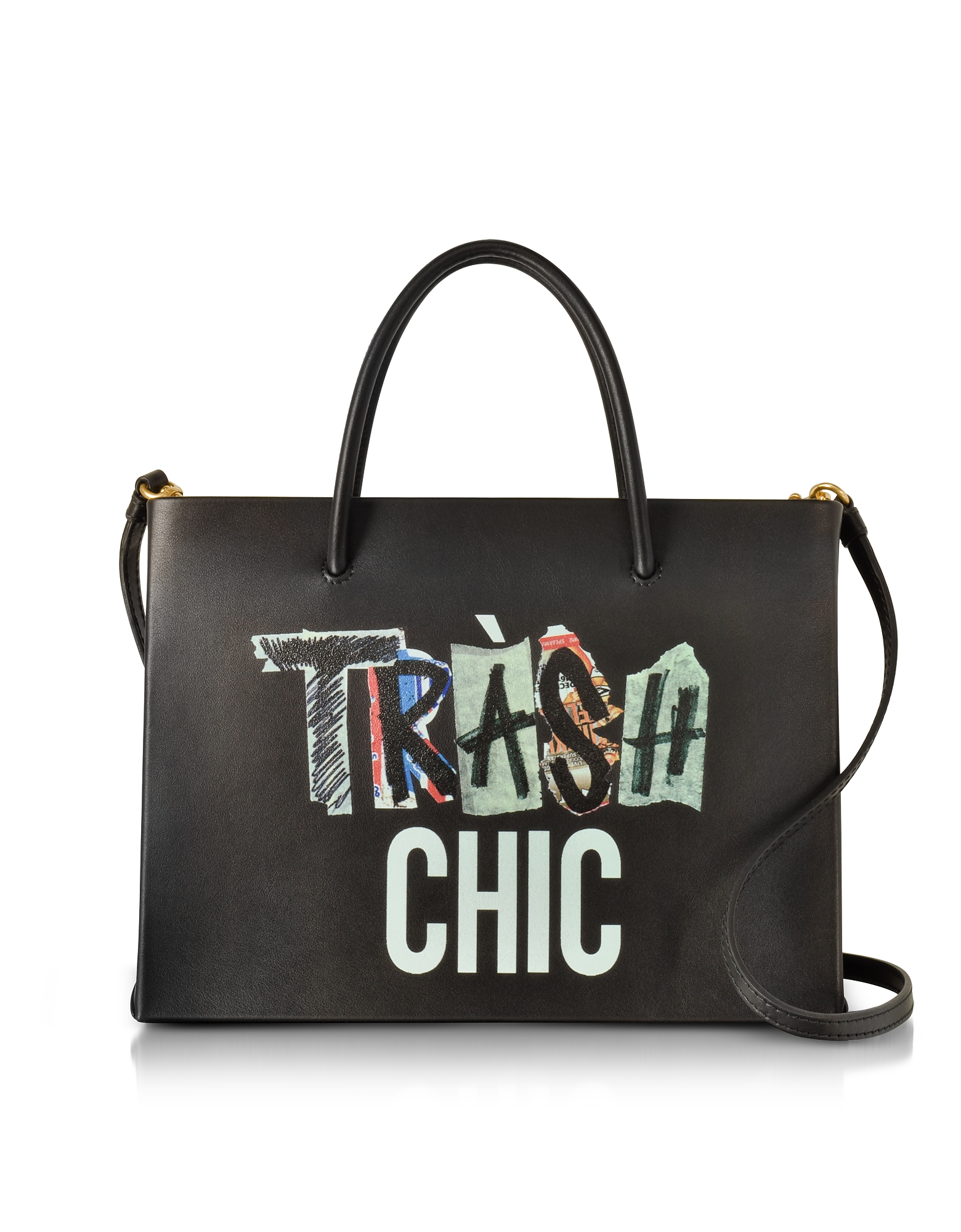 Moschino Trash Chic Black Leather Satchel Bag