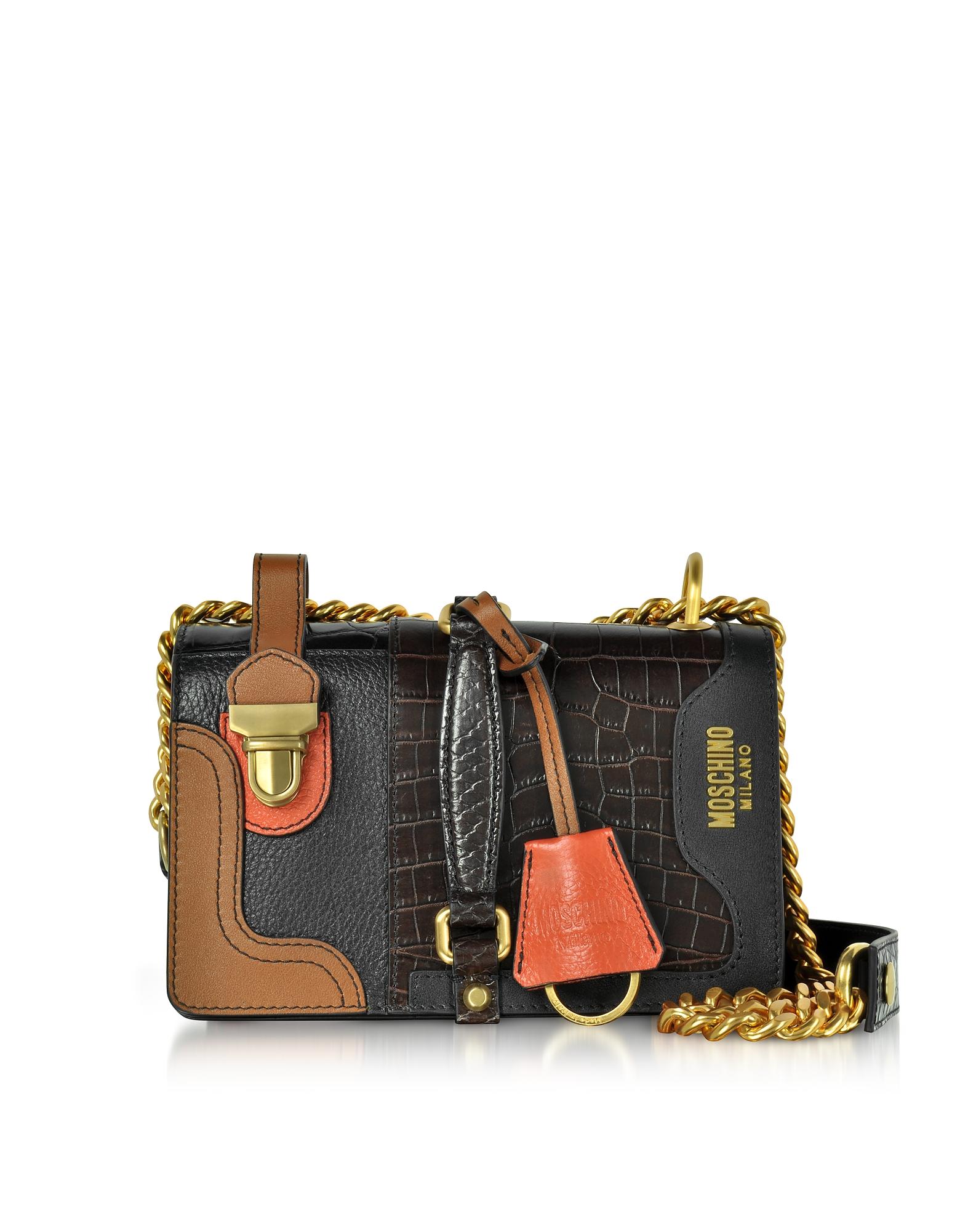 Moschino Handbags, Brown Embossed Croco Leather Shoulder Bag