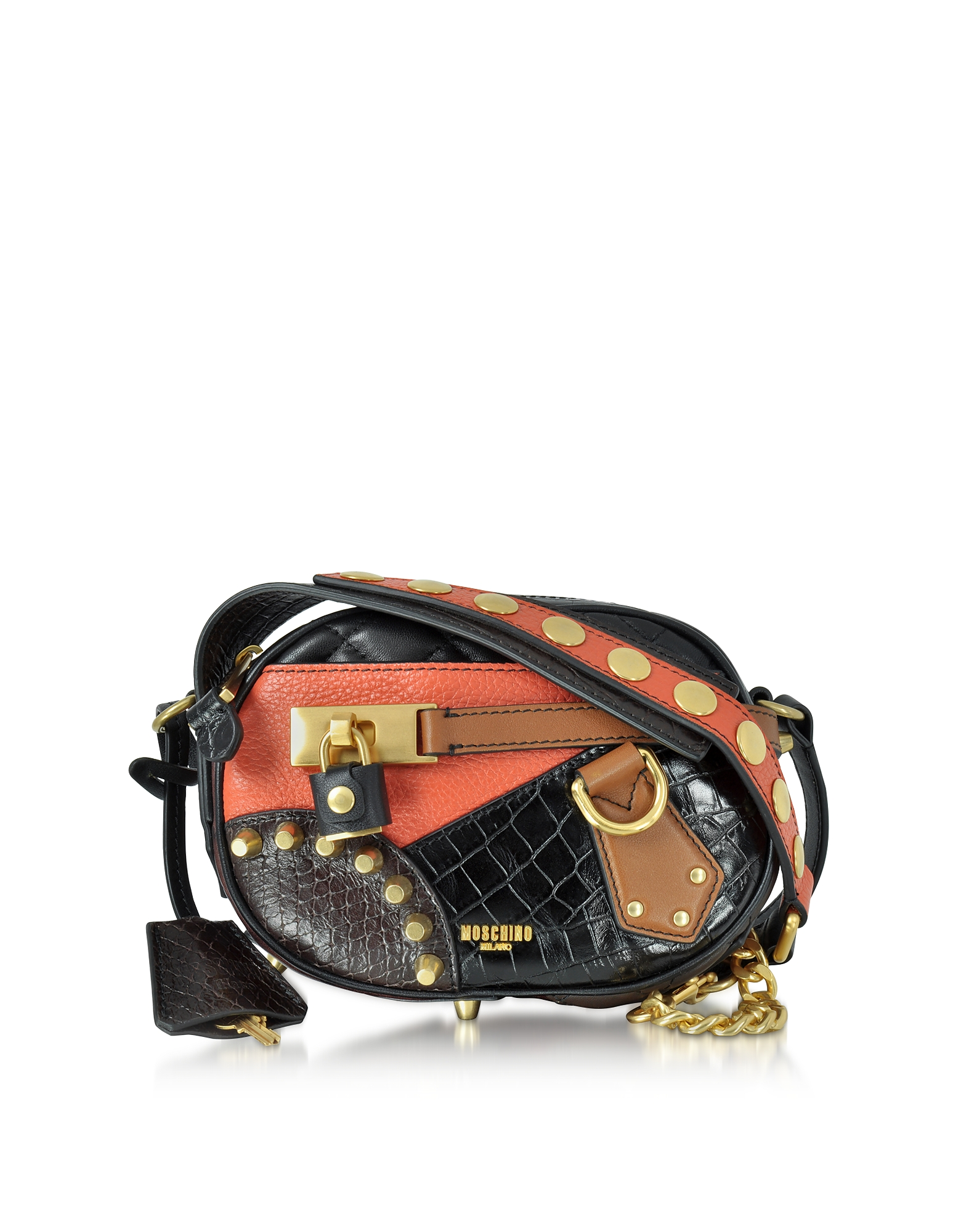 Moschino Handbags, Black/Brown Quilted and Embossed Leather Small Shoulder Bag