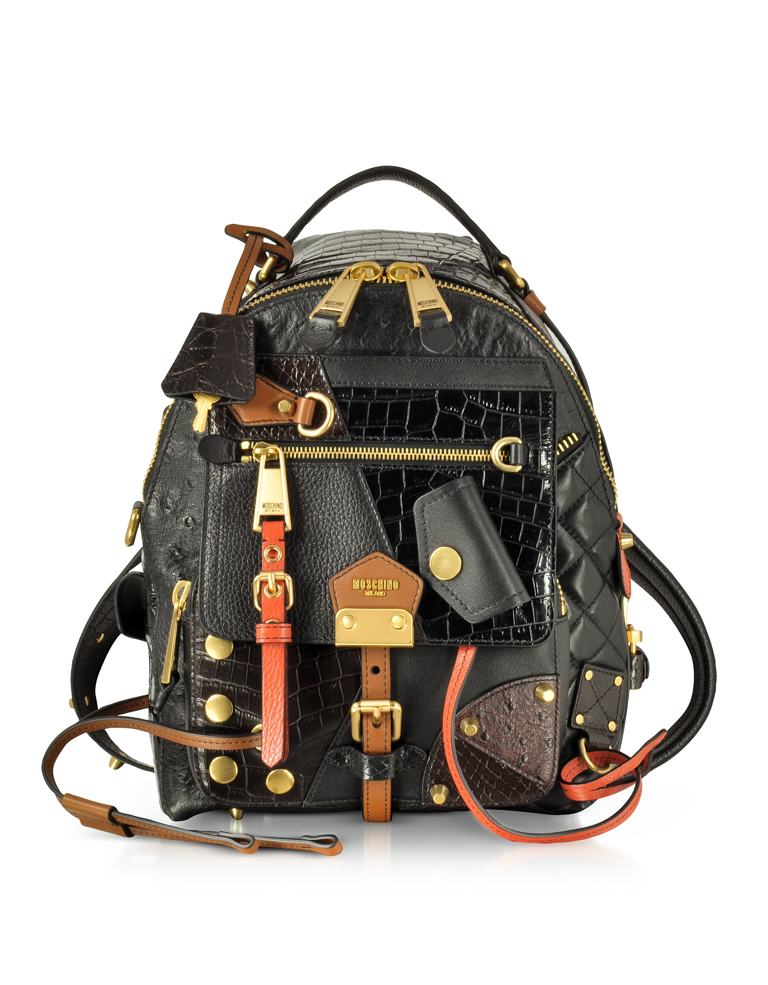 Moschino Handbags, Black/Brown Quilted and Embossed Leather Backpack