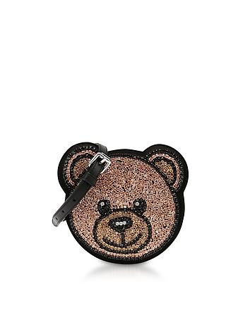 Teddy Bear Crystals Round Crossbody Bag