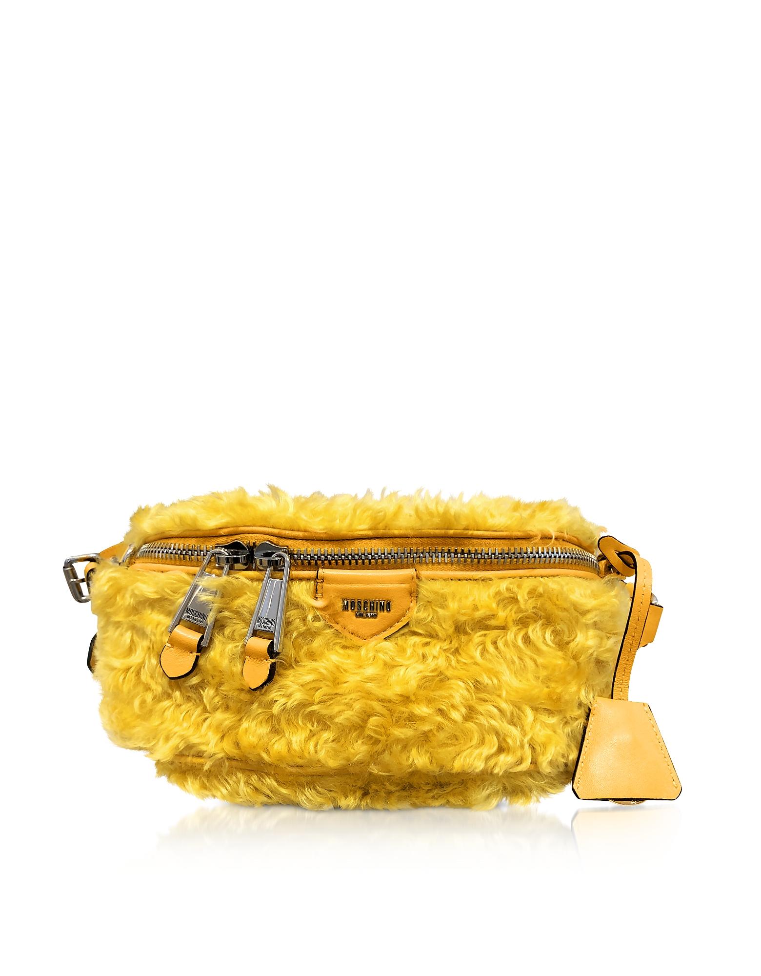 Moschino Handbags, Yellow Mohair Belt Bag