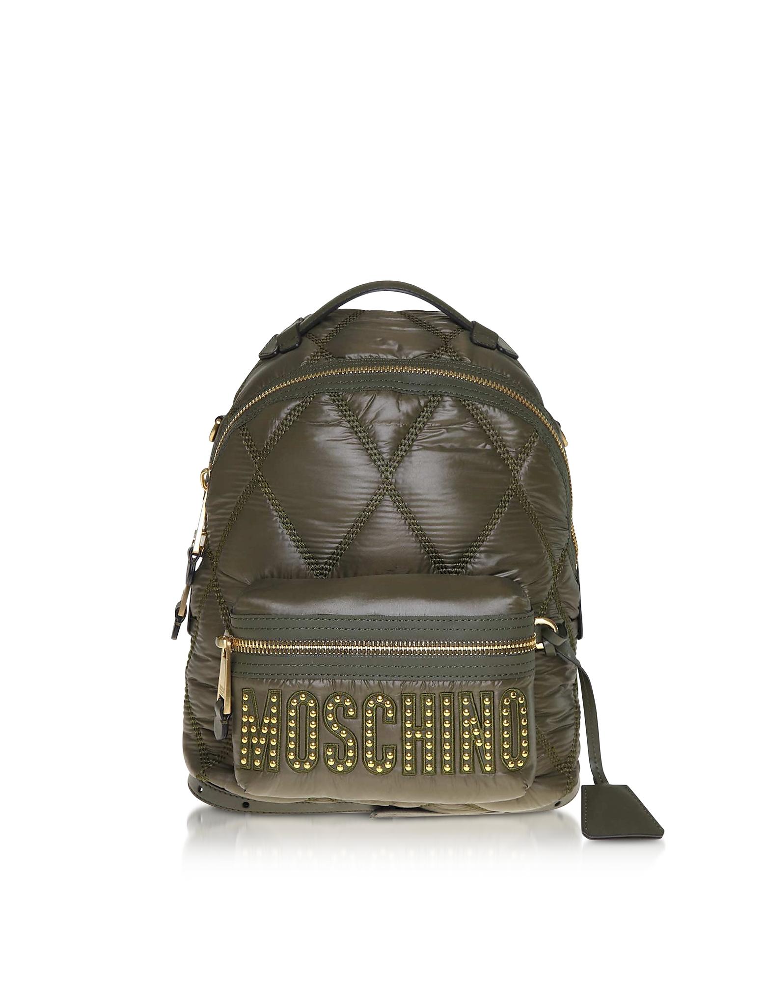 Moschino Designer Handbags, Green Quilted Nylon Signature Backpack