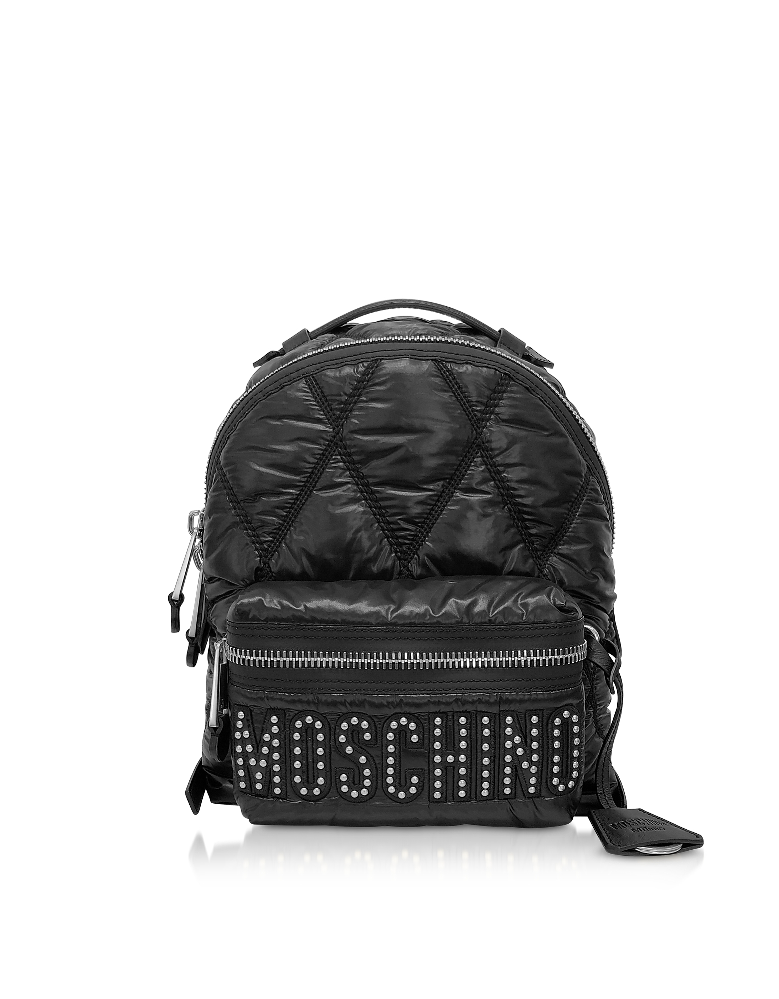 Black Quilted Nylon Signature Backpack w/Silver Studs