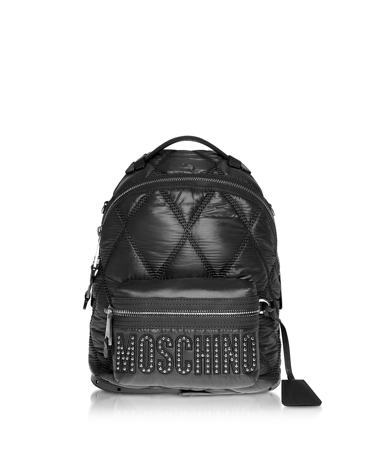 UPC 657536055549 product image for Moschino Designer Handbags, Black Quilted Nylon Signature Backpack w/Silver Stud | upcitemdb.com