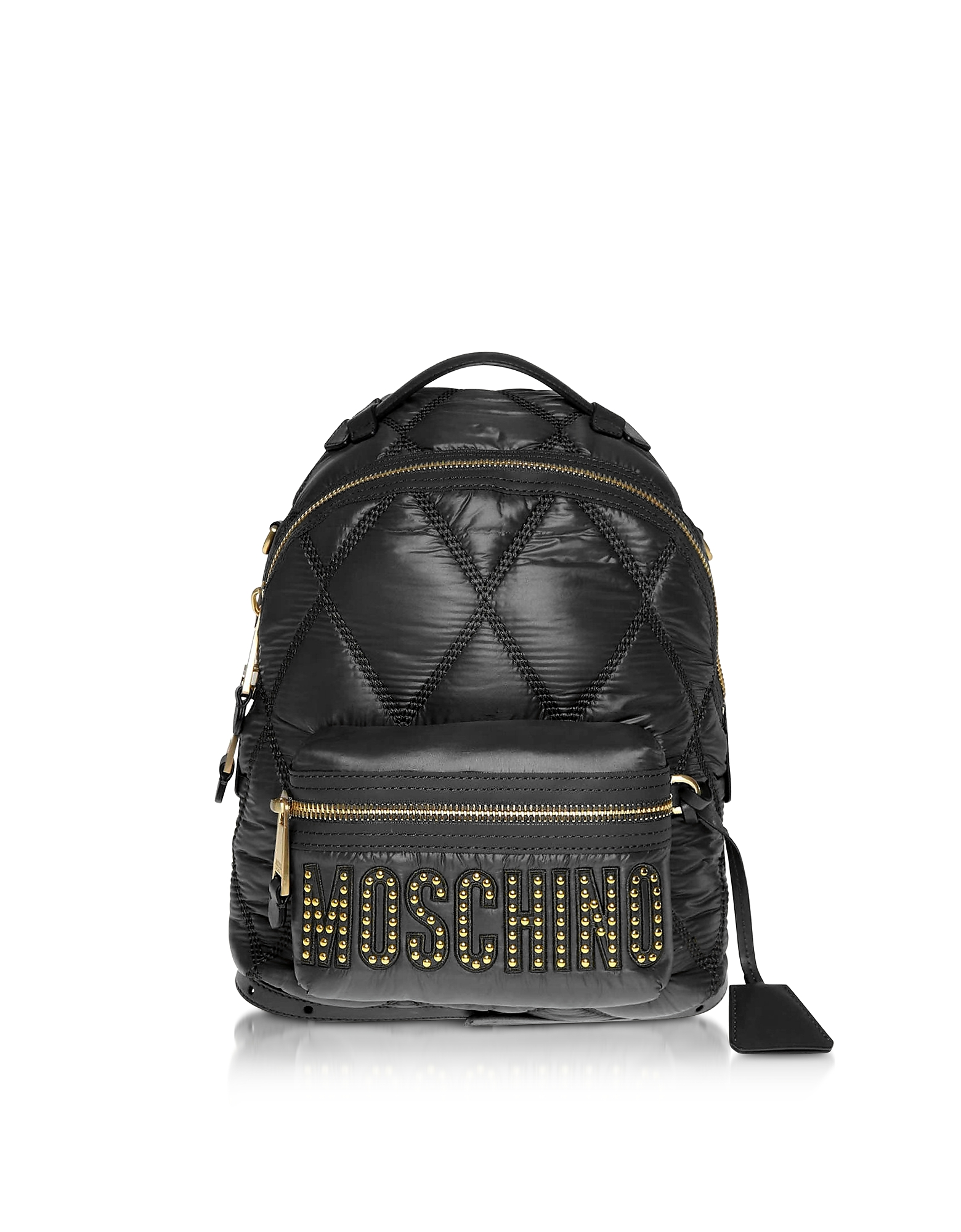 UPC 820771802654 product image for Moschino Designer Handbags, Black Quilted Nylon Signature Backpack w/Gold Studs | upcitemdb.com