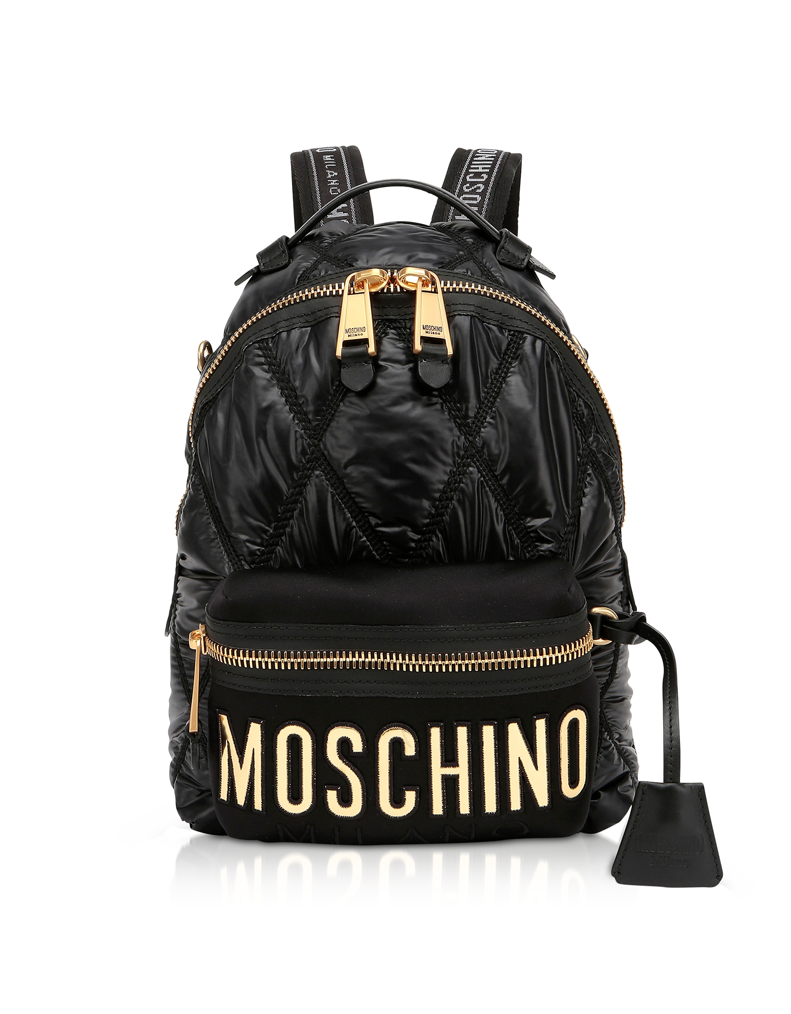 Black Quilted Nylon Signature Backpack w/Gold Studs