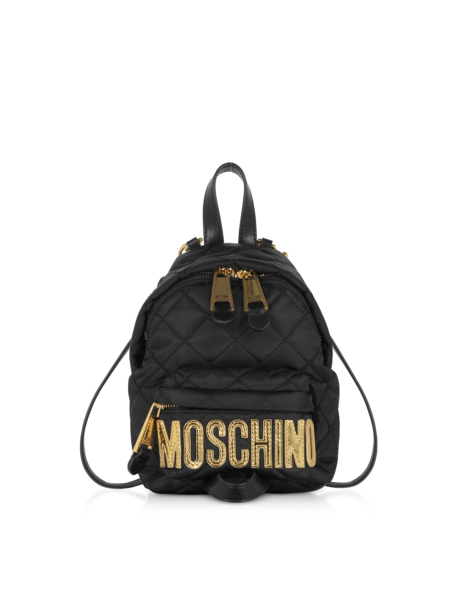 UPC 657536055648 product image for Moschino Designer Handbags, Black Quilted Nylon Signature Mini Backpack w/Gold S | upcitemdb.com