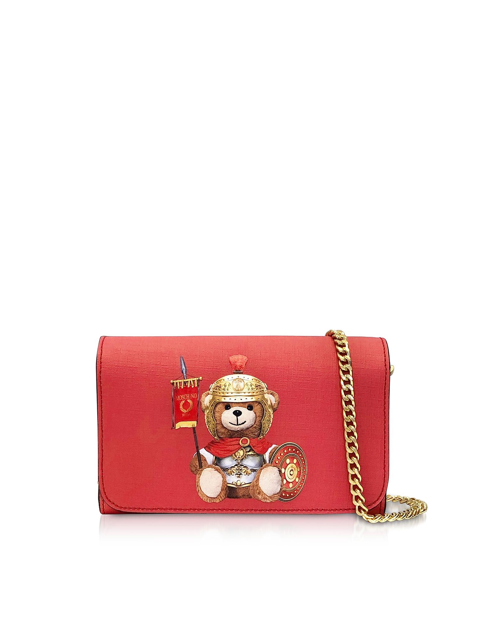 Teddy Bear Wallet Clutch w/Chain Strap, Red