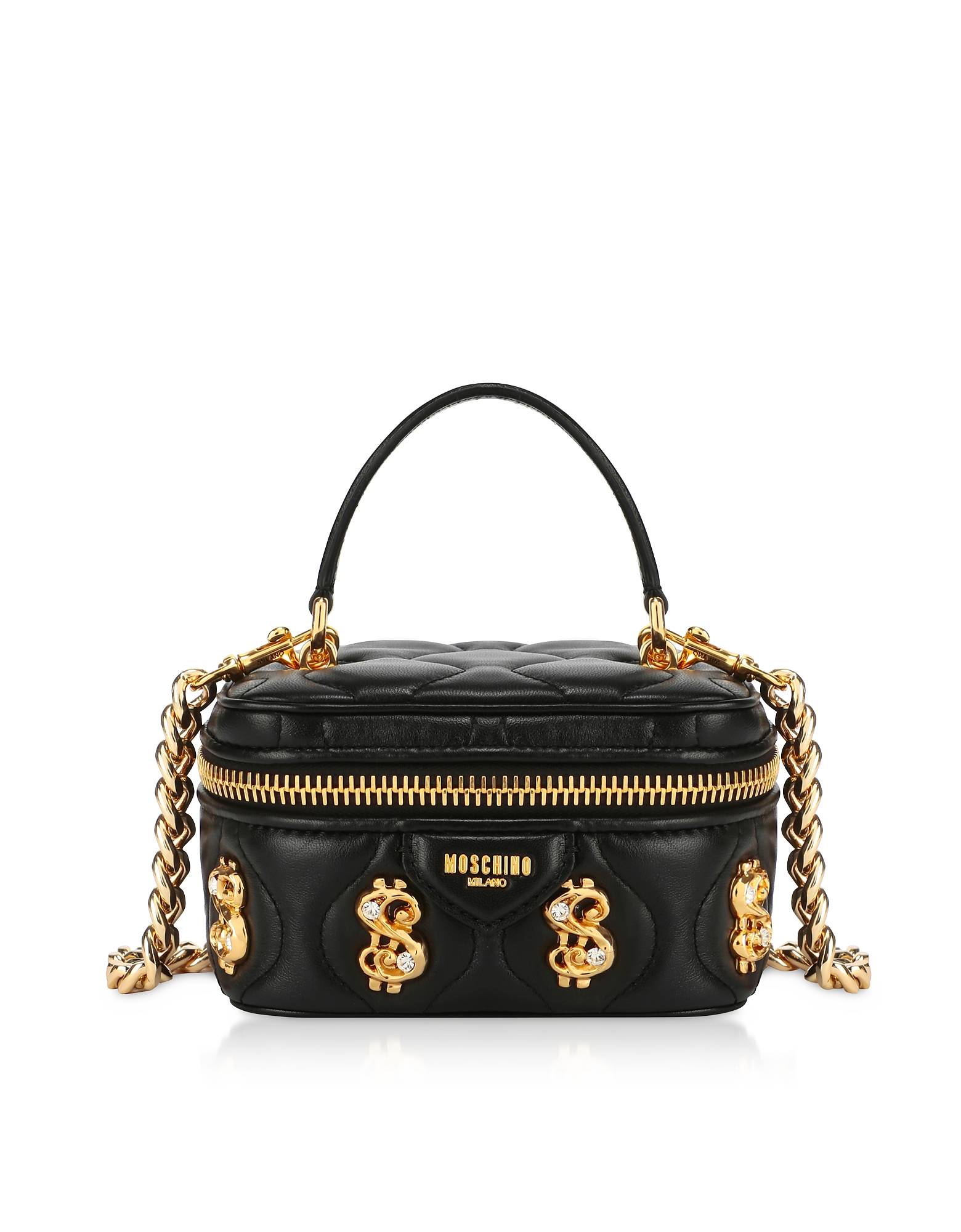 UPC 657536148586 product image for Moschino Designer Handbags, Black Dollars Bauletto Bag w/Nappa | upcitemdb.com