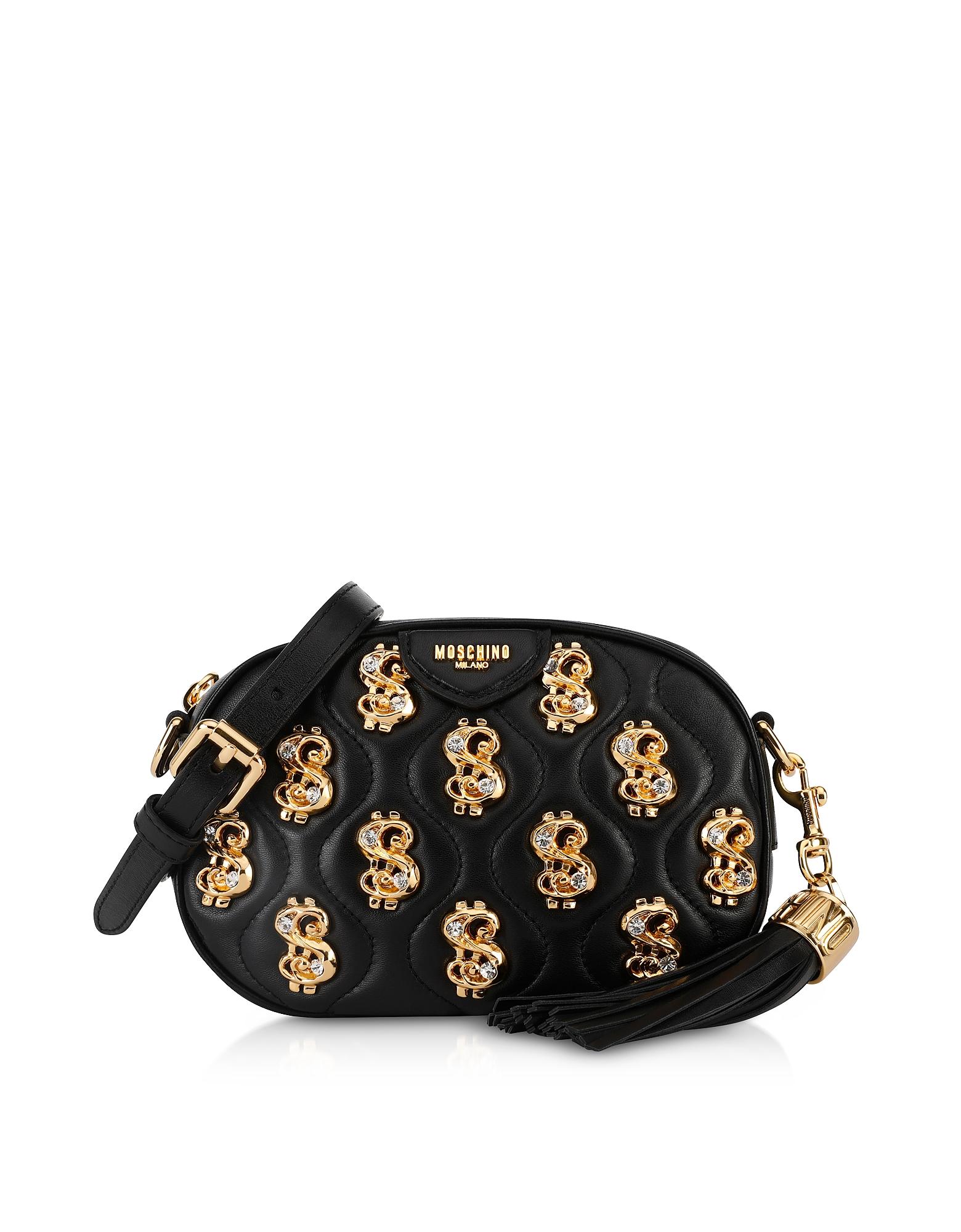 UPC 657536148647 product image for Moschino Designer Handbags, Black Dollars and Crystals Crossbody Bag w/ Tassel | upcitemdb.com