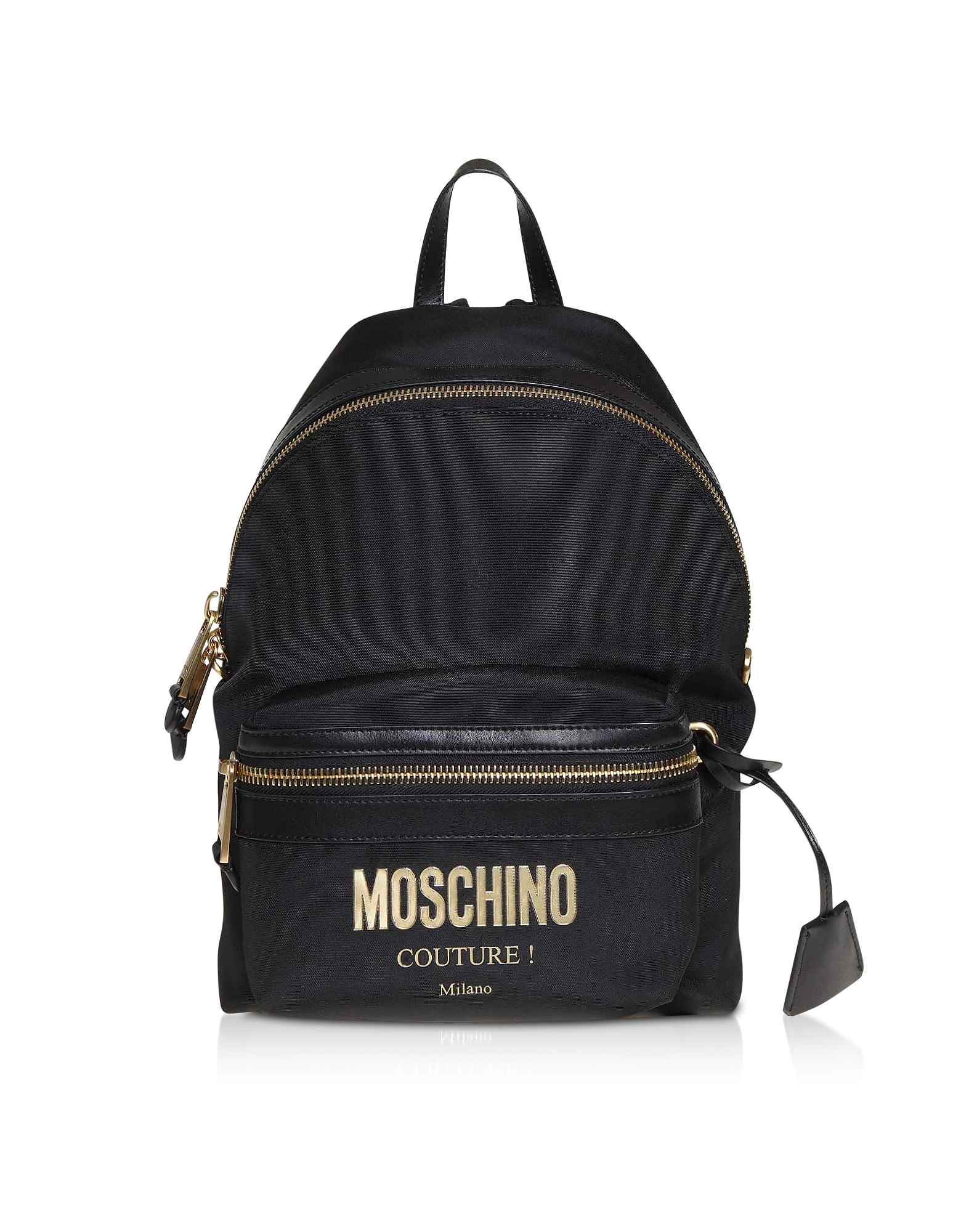 Маленький Черный Рюкзак с Золотистым Логотипом
