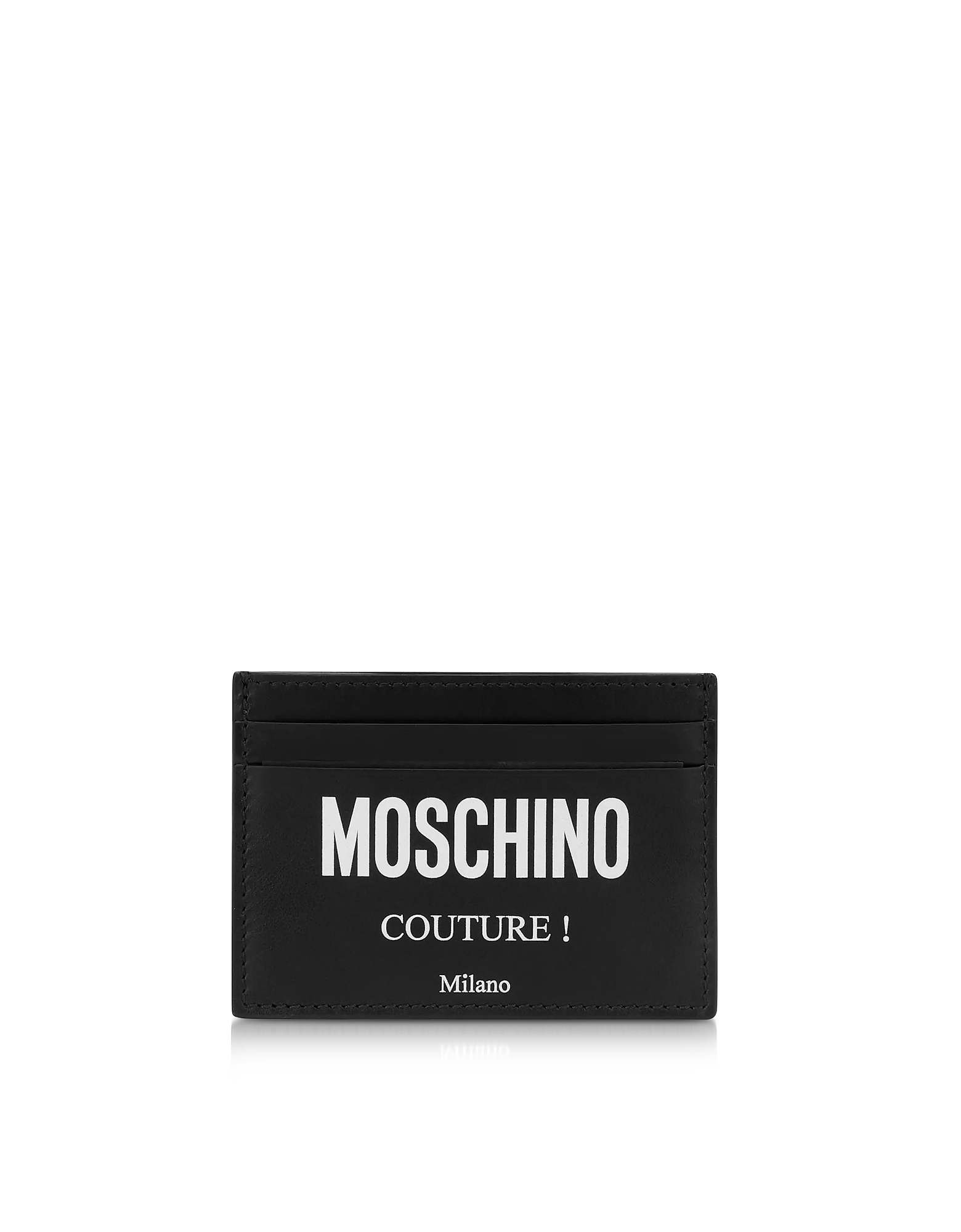 Black Leather Couture Signature Credit Card Holder
