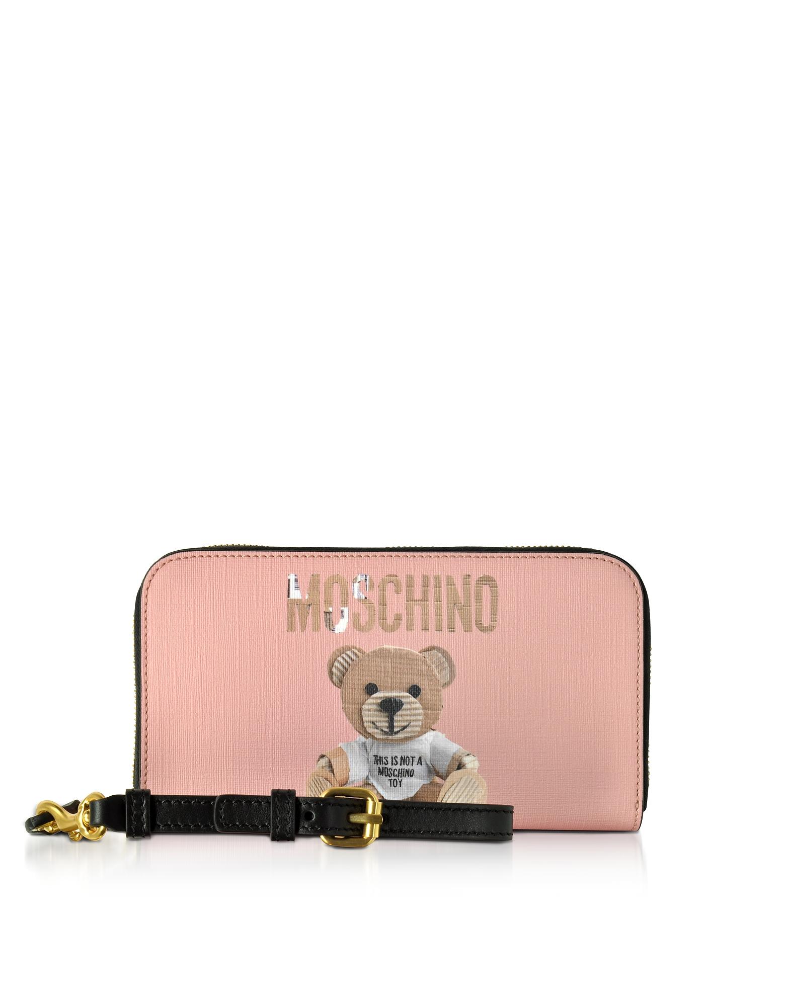 Moschino Handbags, Teddy Bear Saffiano Leather Wallet w/Detachable Wristlet